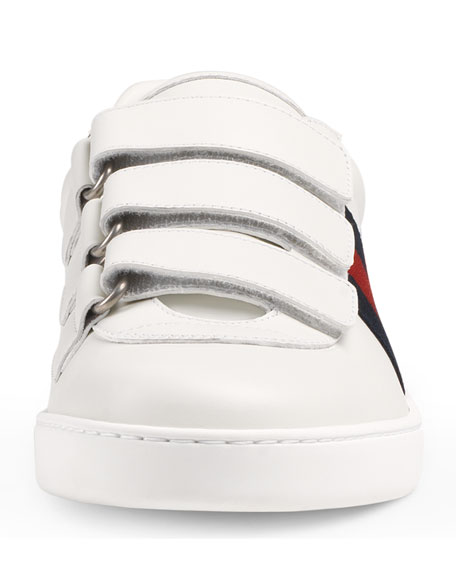 Men's Leather Grip-Strap Sneakers With Web