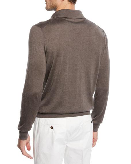 Men's Cashmere/Silk Polo Sweater