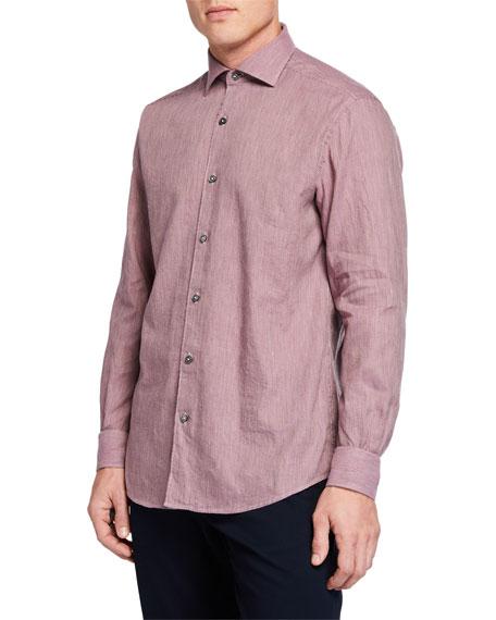 Men's Long-Sleeve Linen Blend Houndstooth Sport Shirt