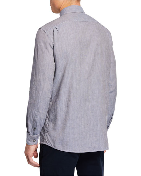 Men's Long-Sleeve Houndstooth Sport Shirt