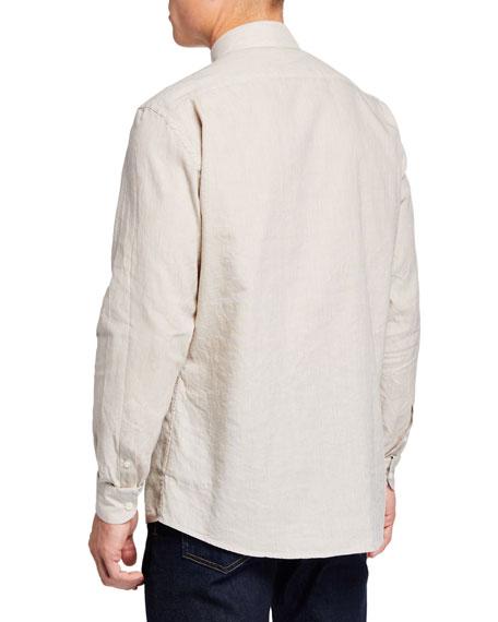 Men's Long-Sleeve Linen/Cotton Sport Shirt