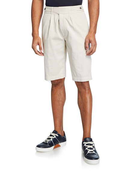 Image 1 of 1: Men's Gurkha-Waist Cotton Shorts