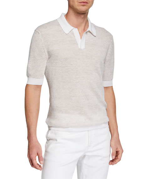 Image 1 of 1: Men's Textured-Knit Polo Shirt