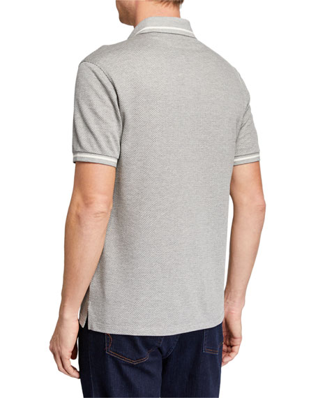 Men's Heathered-Knit Polo Shirt