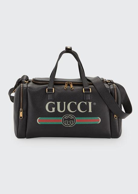 Men's Gucci-Print Leather Duffel Bag
