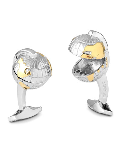 Hinged Oceanic Globe Cufflinks