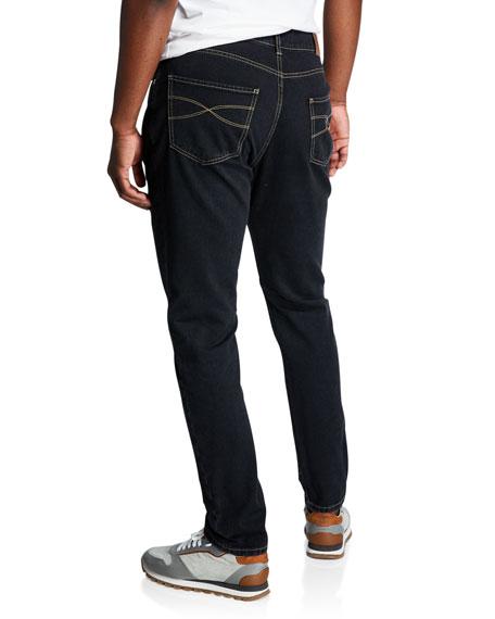 Men's Topstitched Leisure-Fit Denim Pants