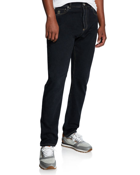 Image 1 of 1: Men's Topstitched Leisure-Fit Denim Pants