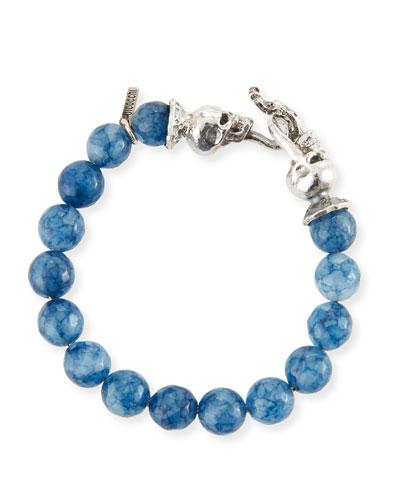 Men's Blue Agate Sterling Silver Bracelet