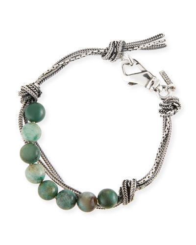 Men's Green Quartz Bead Bracelet w/ Knots
