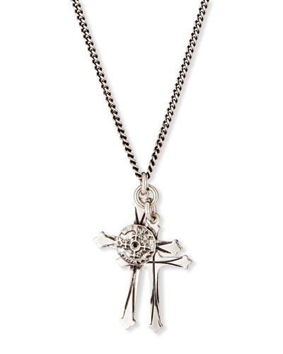 Men's Double Cross Pendant Necklace