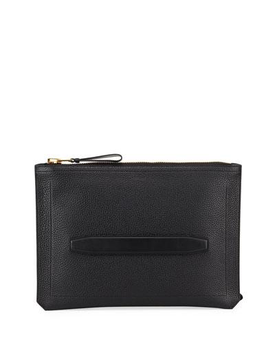 Men's Zip-Top Portfolio Pouch - Golden Hardware
