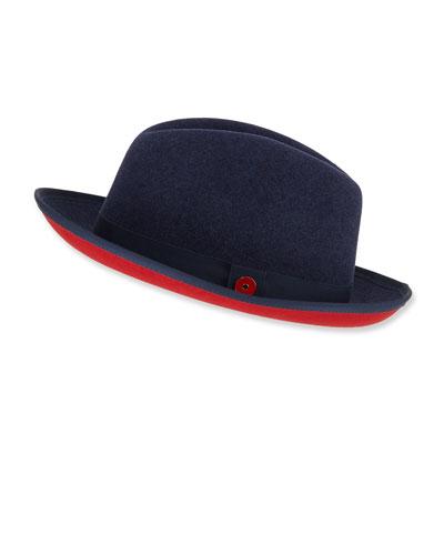 Men's King Red-Brim Wool Fedora Hat  Blue