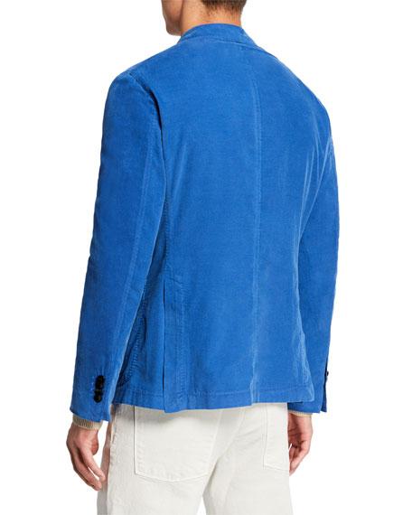 Men's Corduroy Two-Button Jacket, Blue