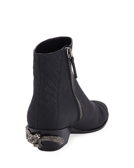Men's Dragon Embossed Leather Boots