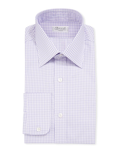 Men's Long-Sleeve Tattersall Dress Shirt