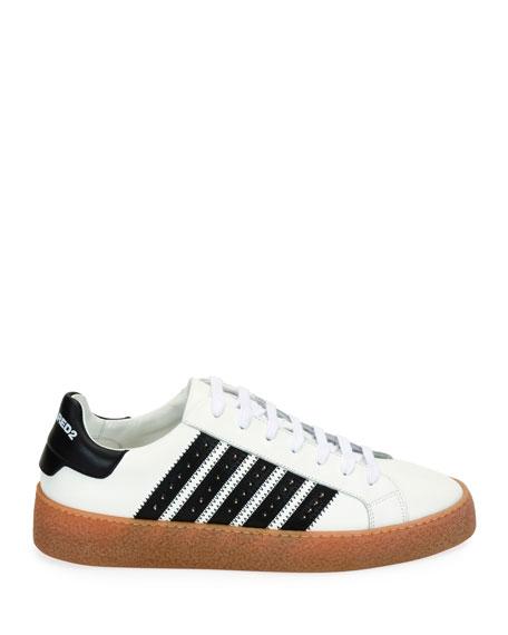 Men's Studded Side-Stripe Leather low-Top Sneakers