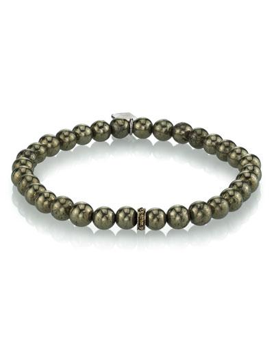 Men's Pyrite Beaded Bracelet  6mm