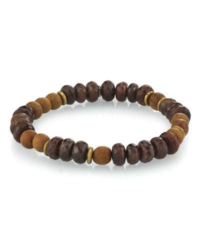 Men's Coffee Quartz & Sandalwood Bracelet  Size M