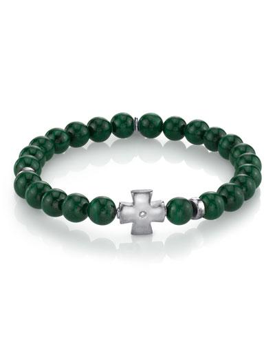 Men's Malachite & Maltese Cross Bracelet  Size M