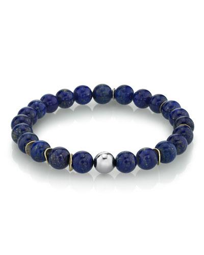 Men's Lapis & Wavy Disc Bracelet  Size M