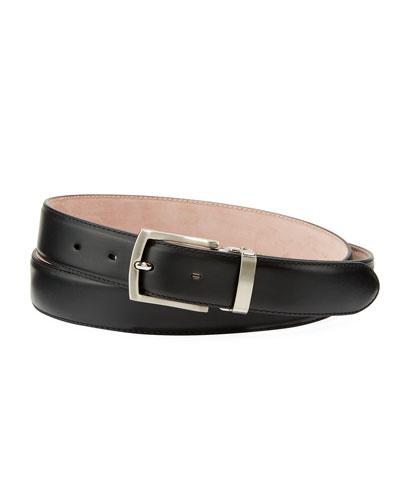 Men's Leather Square-Buckle Belt  Black