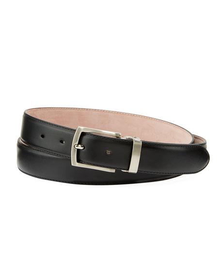 Men's Leather Square-Buckle Belt, Black