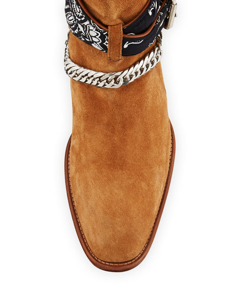 Men's Bandana Buckle Ankle Boots