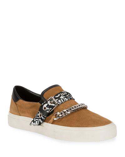 Men's Suede Slip-On Bandana Sneakers