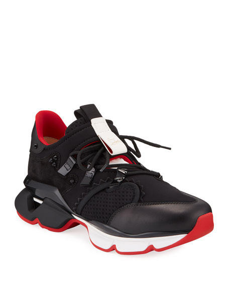Men's Spiked-Trim Tricolor Active Sneakers