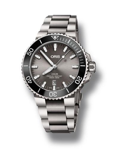 Men's 43.5mm Aquis Automatic Titanium Watch  Gray