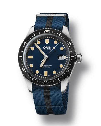 Men's 42mm Diver Watch w/ Textile Strap  Black/Blue