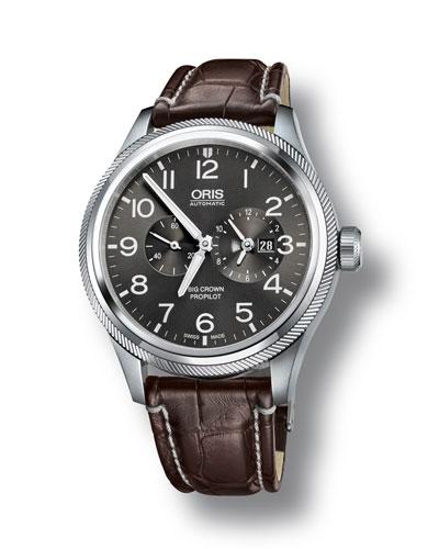 Men's 44.7mm Big Crown Propilot Worldtimer Watch  Gray/Brown