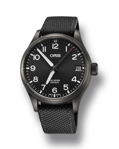Men's 41mm Propilot Watch w/ Textile Strap  Black