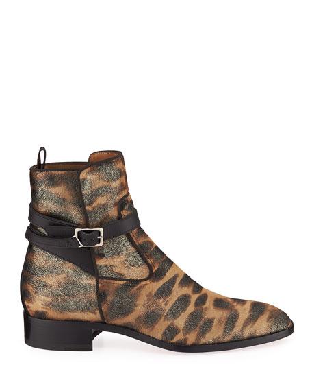 Men's Kicko Leopard-Print Red Sole Boots