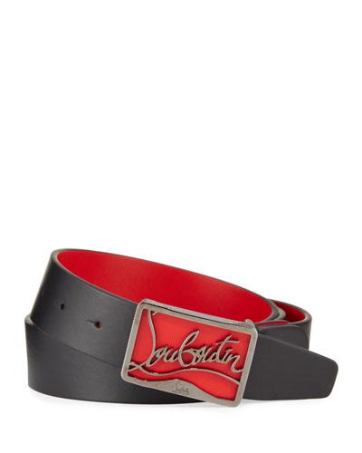 Men's Ricky Leather Belt w/ Brass Logo Buckle