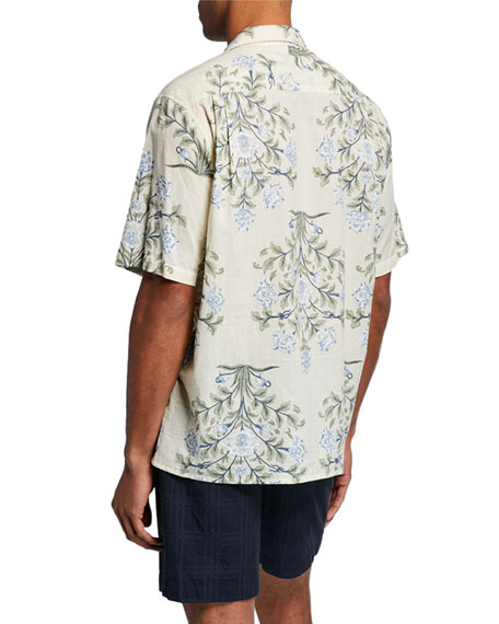 Men's Indo Floral-Print Short-Sleeve Sport Shirt