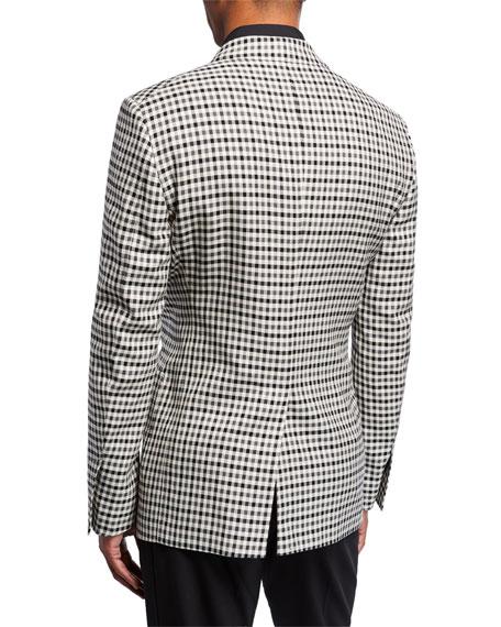 Men's Shelton Check Peak-Lapel Two-Button Jacket