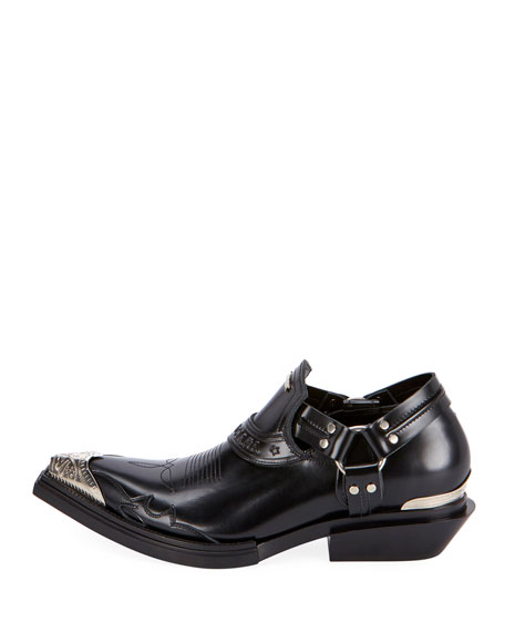 Men's Santiag Harness Leather Loafers