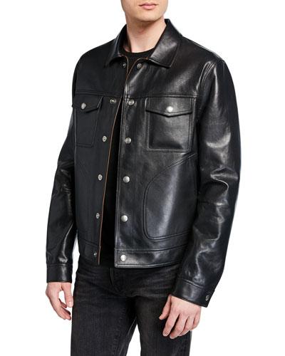 Men's Reversible Bonded-Leather Jacket