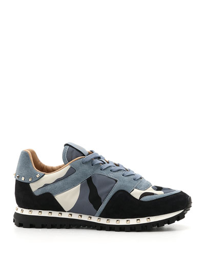 Men's Rockrunner Camo Leather Sneakers  Black/Blue