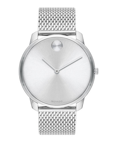 Men's Bold Thin Mesh-Bracelet Watch  Silver