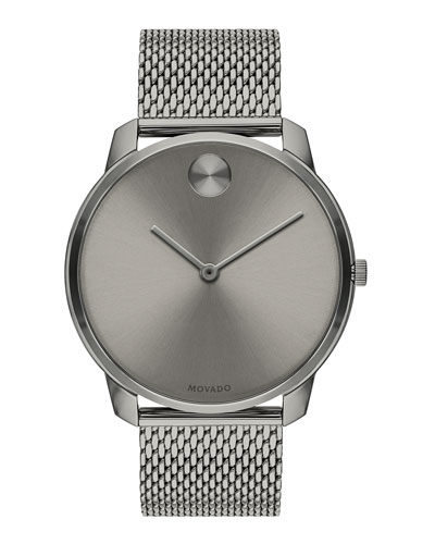Men's Bold Thin Mesh-Bracelet Watch  Gray