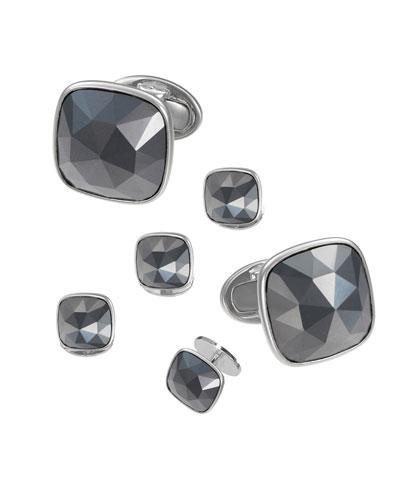 Faceted Hematite Square Cufflinks & Studs Set
