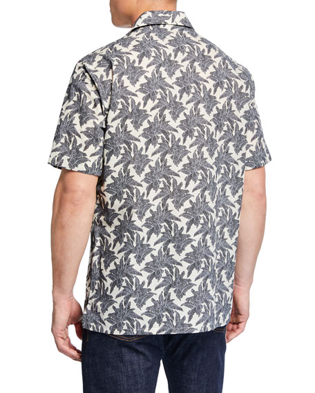 Men's Leaves-Print Short-Sleeve Sport Shirt