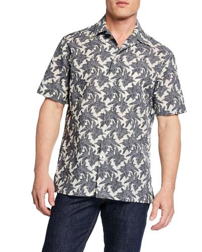 Men's Leaves-Print Short-Sleeve Sport Shirt