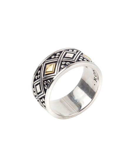 Men's Sterling Silver Ring w/ 18k Gold Trim