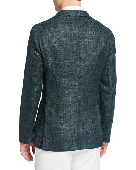 Men's Herringbone Wool-Blend Two-Button Jacket