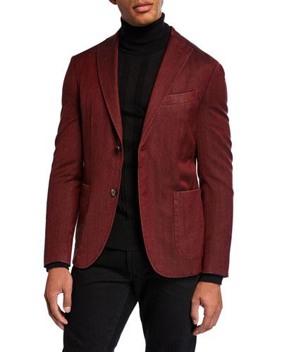 Men's Herringbone Two-Button Jacket