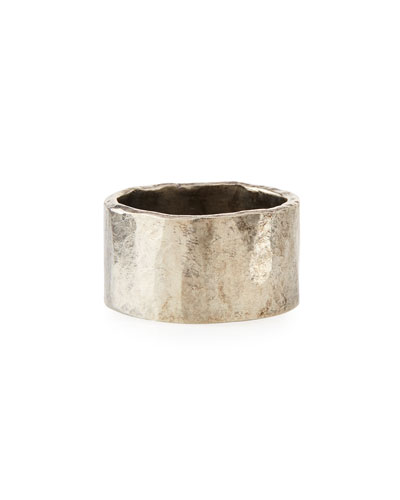Men's Carved Silver Tube Ring